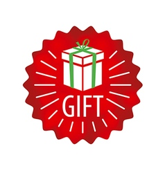 logo gift in a red circle vector image