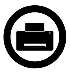 printer icon black color in circle vector image