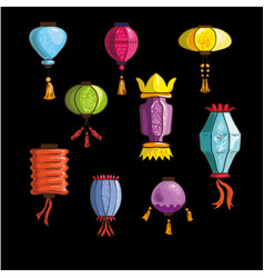 set of colorful chinese japanese and korean vector image