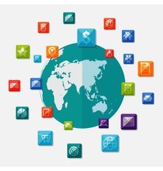 Social media icons on world globe vector image