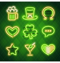 St Patricks Day Glowing Neon Signs Set vector image vector image