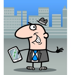businessman with tablet pc cartoon vector image vector image