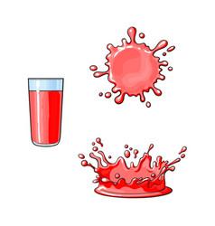 glass cup splash drop of juice set vector image vector image