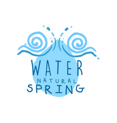 Hand drawn logo with swirling waves and water vector