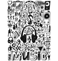 Music doodles set vector image