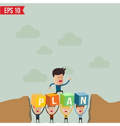 Business man jump over the hill - - EPS10 vector image