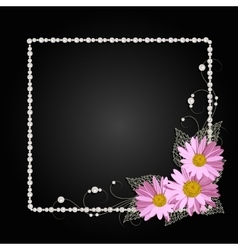 Floral frame with pearls vector image vector image