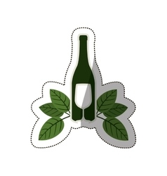 silhouette bottle wine and goblet with leaves vector image vector image