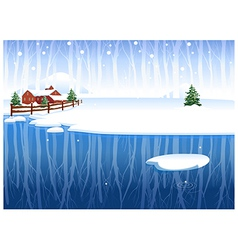 Winter Snow Landscape Background vector image vector image