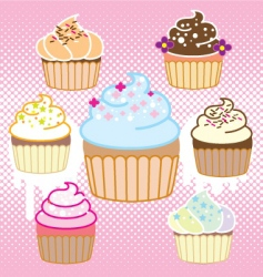 cupcake with halftone vector image vector image
