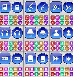 Mobile phone Six Scissors Headphones Cooker hood vector image