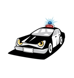 Police car cartoon character with flashing siren vector image