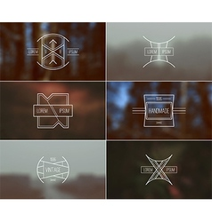 Set of retro badges and blurred background vector