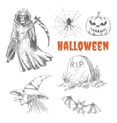 Sketched characters for Halloween decoration vector image vector image