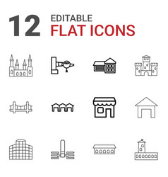 12 architecture icons vector