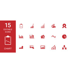 15 chart icons vector image