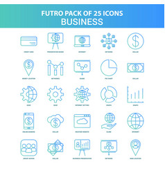 25 green and blue futuro business icon pack vector image