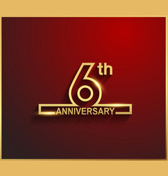 6 anniversary line style golden color vector