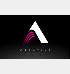 A white and pink swoosh letter logo letter design vector