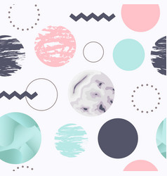 abstract seamless pattern with circles memphis vector image