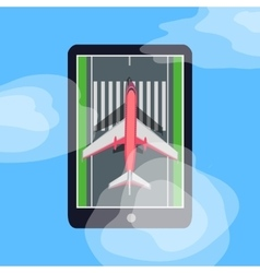 Airplane on Runway in Smartphone Blue Sky Cloud vector
