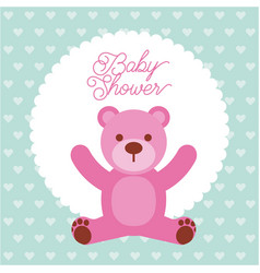 baby shower pink teddy bear card invitation vector image