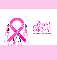 Breast cancer awareness girl charity team concept vector