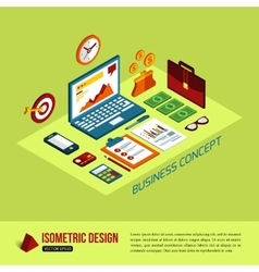 Business background with flat isometric icons and vector image