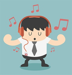 businessman listening to music vector image