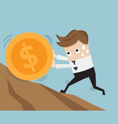 Businessman pushing big coin up hill business vector