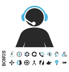 Call Center Operator Flat Icon With Bonus vector image