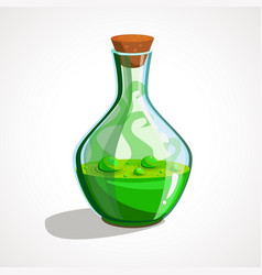 Cartoon glass bottles with green magic potion vector