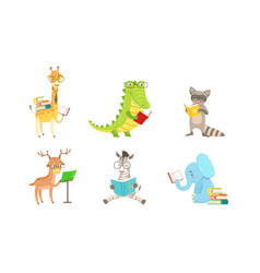 cartoon humanized animals read books vector image