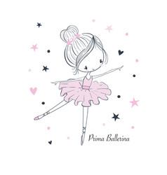 Cartoon little prima ballerina simple linear vector