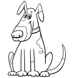 cartoon spotted dog in collar coloring book page vector image