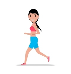 Cartoon woman running jogging vector