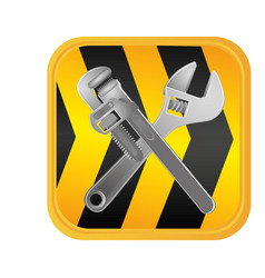 Caution ribbon with wrenchs tools vector
