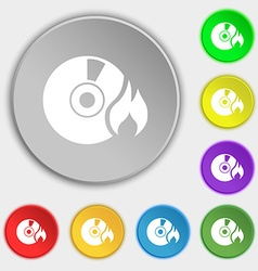 CD icon sign Symbol on eight flat buttons vector