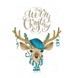 Christmas deer head in blue fashionable hat and vector image