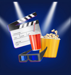 cinema clapper popcorn 3d glasses and drink vector image