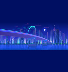 city bridge at night cartoon vector image