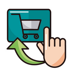 Clicking cart order shopping or payment mobile vector