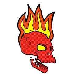 comic cartoon flaming skull vector image