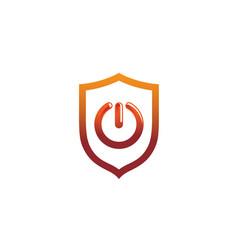 Creative abstract power turn on shield logo vector
