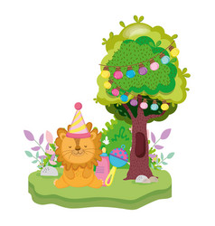 Cute and little lion with party hat vector