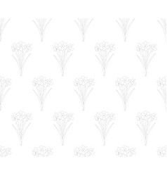 Daffodil - narcissus seamless on white background vector