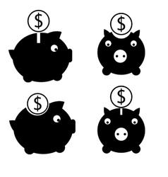 Dollar money box icon set vector image