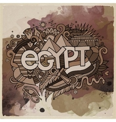 Egypt country hand lettering and doodles elements vector image