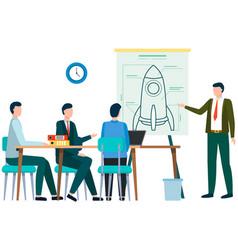Entrepreneurs discussing future spaceship vector