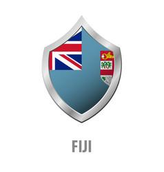 fiji flag on metal shiny shield vector image